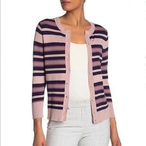Halogen Striped Button Cardigan